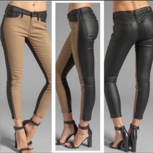 Denim - 7FAM •The Pieced Ankle Skinny in Khaki and Leather